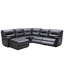 Garraway 5-Pc. Leather Sectional Sofa with Chaise, 2 Power Recliners with Power Headrests and USB Power Outlet, Created for Macy's