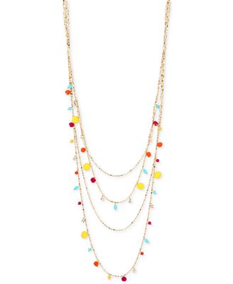 M. Haskell for INC International Concepts Gold-Tone Multicolor Bead & Pom-Pom Multi-Row Necklace, Created for Macy's