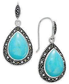 Manufactured Turquoise & Marcasite Teardrop Drop Earrings in Silver-Plate