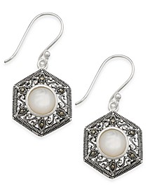 Mother-of-Pearl & Marcasite Hexagon Drop Earrings in Silver-Plate