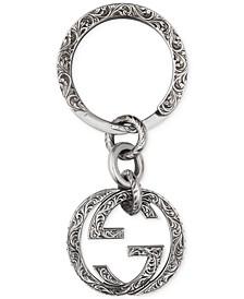Men's Sterling Silver Interlocking G Logo Paisley Keychain