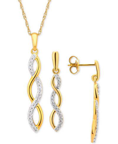 Diamond Infinity Jewelry Set (1/4 ct. t.w.) in 14k Gold-Plated Sterling Silver