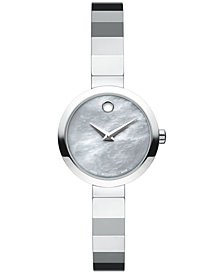 Movado Women's Swiss Novella Stainless Steel Bangle Bracelet Watch 24mm 0607110