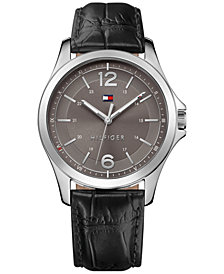 Tommy Hilfiger Men's Essential Black Leather Strap Watch 42mm 1791376, Created for Macy's
