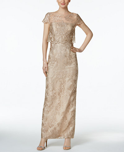 Adrianna Papell Petite Embroidered Mesh Popover Gown - Dresses ...