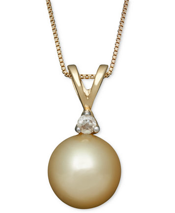 Golden south sea pearl 8mm and diamond accent pendant necklace image 1 of golden south sea pearl 8mm and diamond accent pendant necklace in aloadofball Image collections