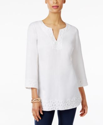 JM Collection Lace Split-Neck Tunic Only at Macys
