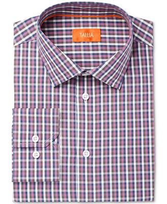 Tallia Men's Fitted Check Printed Ground Dress Shirt