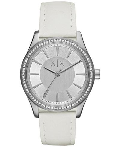 A|X Armani Exchange Women's White Leather Strap Watch 36mm AX5445