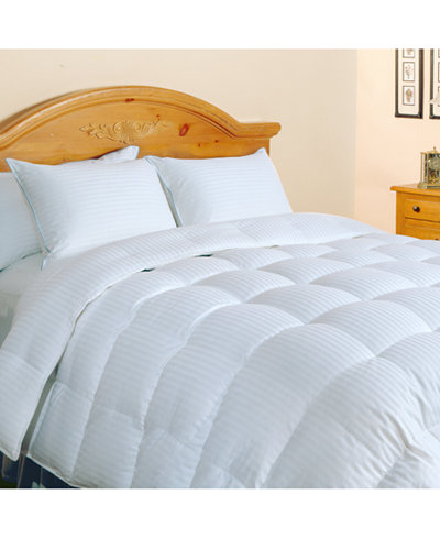 Blue Ridge 500-Thread Count Damask Stripe Queen Down Comforter