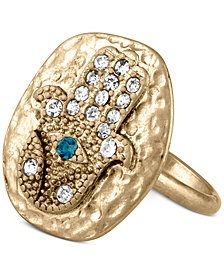RACHEL Rachel Roy Gold-Tone Crystal Hamsa Statement Ring