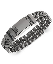 Sutton by Rhona Sutton Men's Stainless Steel Chevron Link Bracelet