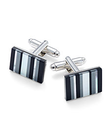 Sutton by Rhona Sutton Men's Stainless Steel Multi-Stone Striped Cufflinks