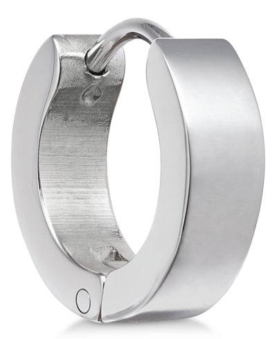 Sutton by Rhona Sutton Men's Stainless Steel Hinged Huggie Hoop Earring