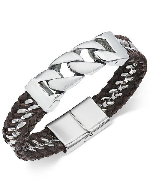 Sutton by Rhona Sutton Men's Stainless Steel & Leather Woven Bracelet