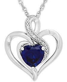 Lab-Created Sapphire (1-3/4 ct. t.w.) & Diamond Accent Heart Pendant Necklace in Sterling Silver