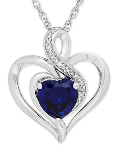 Lab created sapphire 1 34 ct tw diamond accent heart pendant tw diamond aloadofball