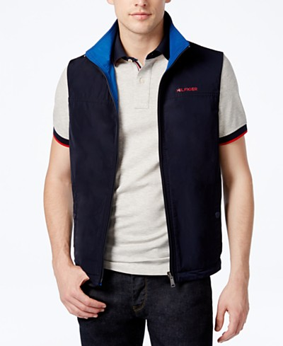 Tommy Hilfiger Men's Lowell Reversible Full-Zip Stand-Collar Vest