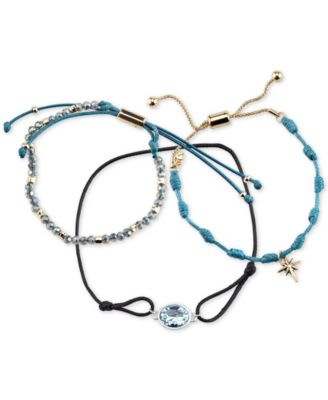 Image of Unwritten 3-Pc. Set Two-Tone Blue Cord Large Crystal & Starburst Adjustable Bracelets