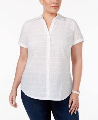 Karen Scott Plus Size Eyelet Short-Sleeve Shirt, Only at Macy's
