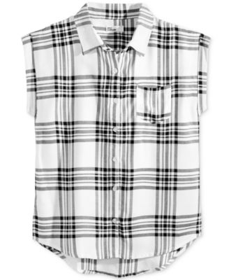 Image of Epic Threads Plaid Sleeveless Shirt, Big Girls (7-16), Created for Macy's