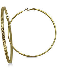 GUESS Gold-Tone Large Textured Hoop Earrings