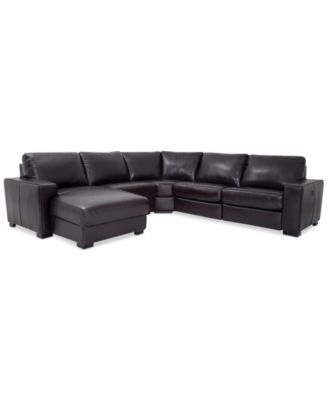 adken 5pc leather stationary sectional sofa with chaise - Sectional Sofa