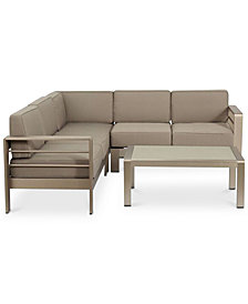 Gilder Outdoor Sofa Set with Glass Table , Quick Ship