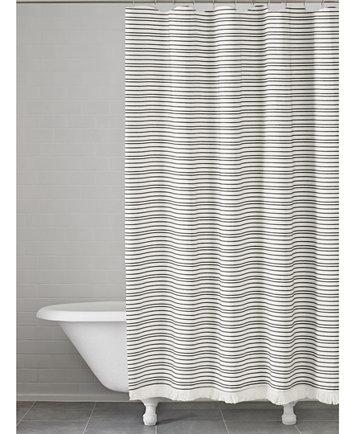 Image 1 Of Kassatex Halsey Cotton Stripe Shower Curtain