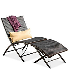 Outdoor Wicker Lounge Chair and Ottoman Set w/ Pillow, Quick Ship