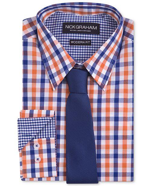 440ff4d49 Nick Graham Men's Modern Fitted Multi-Gingham Dress Shirt & Solid ...