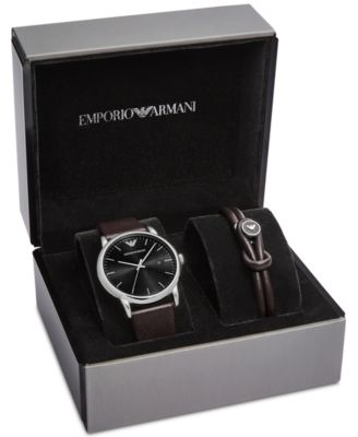 Emporio Armani Men's Luigi Brown Leather Strap Watch & Leather ...