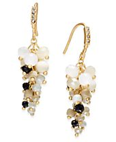 INC International Concepts Gold-Tone Stone and Crystal Cluster Drop Earrings, Created for Macy's