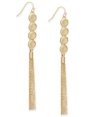 INC International Concepts Gold-Tone Long Tassel Drop Earrings, Created for Macy's
