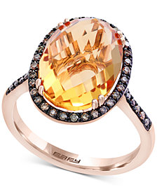 Final Call by EFFY® Citrine (6-7/8 ct. t.w.) & Diamond (1/4 ct. t.w.) Ring in 14k Rose Gold