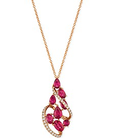 Certified Passion Ruby™ (2-1/3 ct. t.w.) & Diamond (1/5 ct. t.w.) Pendant Necklace in 14k Rose Gold