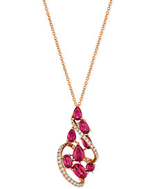 Le Vian® Certified Passion Ruby™ (2-1/3 ct. t.w.) & Diamond (1/5 ct. t.w.) Pendant Necklace in 14k Rose Gold