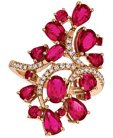 Le Vian® Certified Passion Ruby™ (4-1/4 ct. t.w.) & Diamond (1/5 ct. t.w.) Ring in 14k Rose Gold