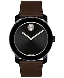 Movado Men's Swiss Bold Brown Leather Strap Watch 42mm 3600443