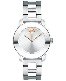 Movado Women's Swiss Bold Stainless Steel Bracelet Watch 30mm 3600433