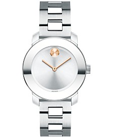 Movado Women's Swiss Bold Stainless Steel Bracelet Watch 30mm 3600433