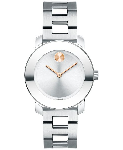 41ac6d9b9 ... Movado Women's Swiss Bold Stainless Steel Bracelet Watch 30mm 3600433  ...