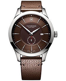 Victorinox Swiss Army Men's Alliance Brown Leather Strap Watch 44mm