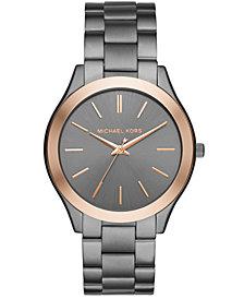 Michael Kors Unisex Slim Runway Gunmetal Stainless Steel Bracelet Watch 44mm MK8576