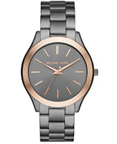 cd70939ce7e3 Michael Kors Unisex Slim Runway Gunmetal Stainless Steel Bracelet Watch  44mm MK8576