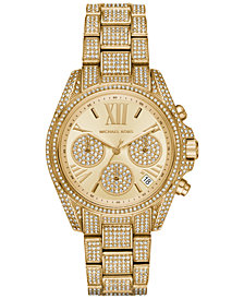 Michael Kors Women's Chronograph Mini Bradshaw Pavé Crystal & Gold-Tone Stainless Steel Bracelet Watch 33mm MK6494