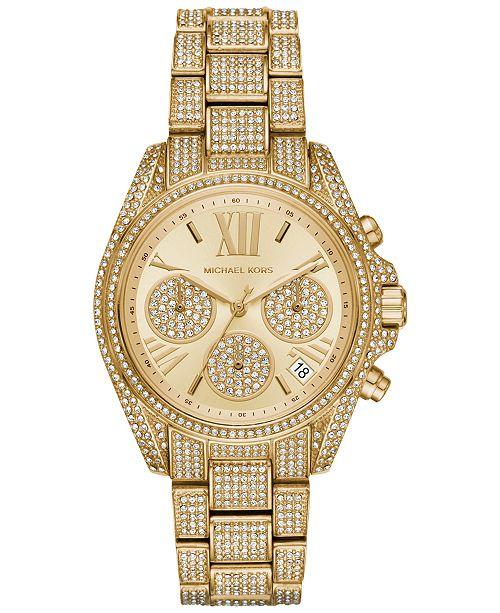 f8fa1673b5d7 Michael Kors Women s Chronograph Mini Bradshaw Pav eacute  Crystal    Gold-Tone Stainless Steel Bracelet ...