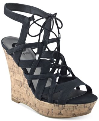 Image of G by GUESS Dritta Cork Wedge Sandals