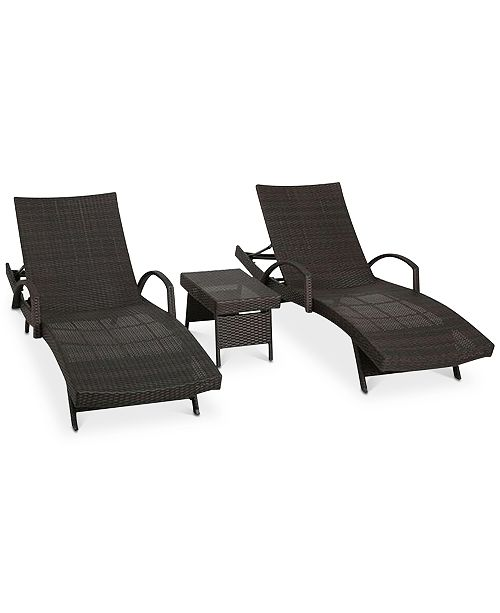 Noble House Farron Adjustable 3-Pc Set, Lounges with Arms & Table, Quick Ship