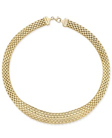 Graduated Wide Mesh Necklace in 14k Gold